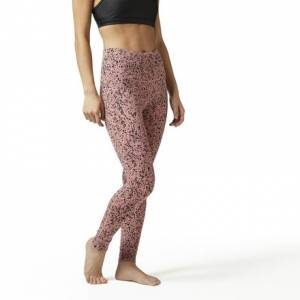 Reebok Lux Bold Women's Studio High Rise Legging - Speckle Print in Sandy Rose