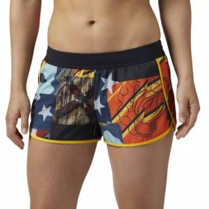 Reebok CrossFit Knit Woven 2.5in Short Women's Training Apparel in Collegiate Navy / Multicolor