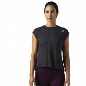 Reebok Elements Marble Tee Women's Fitness Training T-Shirt in Black
