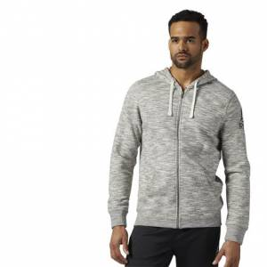 Reebok Elements Full Zip Hoodie Men's Fitness Training Sweatshirt in Chalk