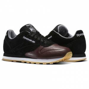 Reebok Classic Leather LS Men's Retro Running Shoes in Black / Burnt Sienna / Ash Grey / Gum