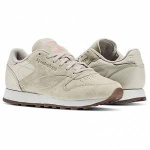Reebok Classic Leather EB Women's Retro Running Shoes in Sand Stone / Chalk / Sour Melon / Gum