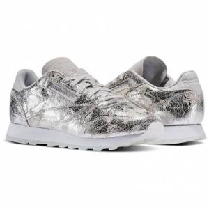 Reebok Classic Leather Dynamic Chrome Women's Retro Running Shoes in Silver Met / Skull Grey / White