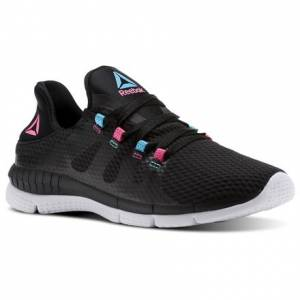 Reebok ZPrint Her Women's Running Shoes in Black / Solar Pink / Neon Blue / White