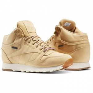 Reebok Classic Leather Mid GTX-THIN Men's Retro Running Shoes in Beige / Paper White / Gum
