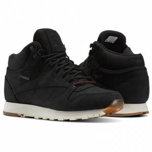 Reebok Classic Leather Mid GTX-THIN Men's Retro Running Shoes in Black / Paper White / Gum