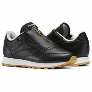 Reebok Classic Leather Zip Women's Retro Running Shoes in Black / Chalk / Sleek Met