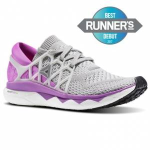 Reebok Floatride Run Women's Running Shoes in Light Grey Heather / Medium Grey Heather / Vicious Violet