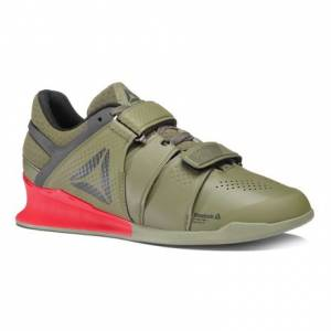 Reebok Legacy Lifter Men's Training Shoes in Hunter Green / Coal / Primal Red / Chalk
