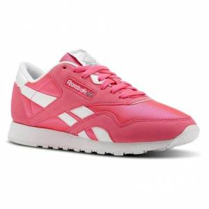 Reebok Classic Nylon Brights Women's Retro Running Shoes in Acid Pink