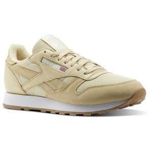 Reebok Classic Leather ESTL Men's Retro Running Shoes in Straw / White