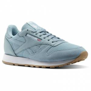 Reebok Classic Leather ESTL Men's Retro Running Shoes in Whisper Teal / White