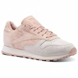 Reebok Clasic Leather NBK Women's Retro Running Shoes in Pale Pink / Chalk Pink