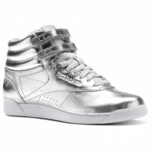 Reebok Freestyle Hi Metallic Women's Fitness Shoes in Silver Met / Steel / White