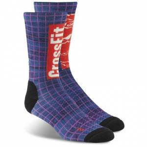 Reebok CrossFit Men's Fitness Training Printed Crew Sock in Vital Blue