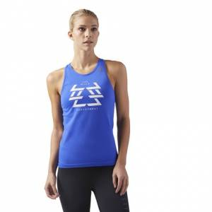 Reebok LES MILLS BODYCOMBAT™ Women's Studio Seamless Tank in Acid Blue