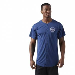 Reebok LES MILLS Baseball Unisex T-Shirt Studio in Washed Blue