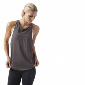 Reebok LES MILLS Women's Studio Quick Cotton Tank Top in Urban Grey
