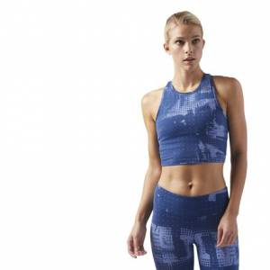 Reebok LES MILLS Women's Studio Crop Tank Top in Washed Blue