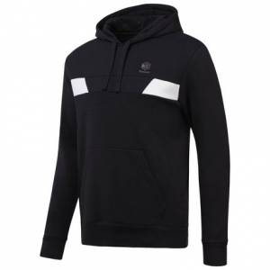 Reebok Men's Over the Head Fleece Hoodie in Black