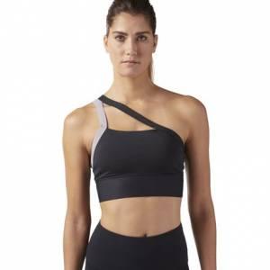 Reebok Women's Studio One shoulder Padded Sports Bra in Black