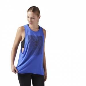 Reebok Women's Studio Moire Muscle Tank Top in Acid Blue