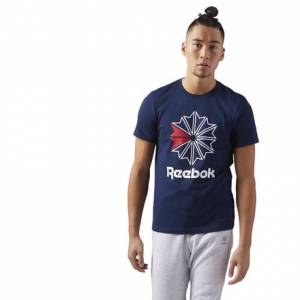 Reebok Classics Big Logo Tee Men's Casual T-Shirt in Collegiate Navy / White