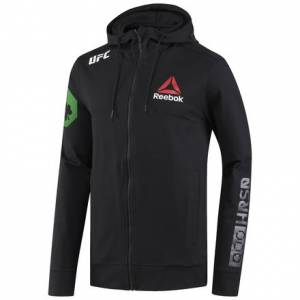 Reebok UFC Fight Night Conor Mcgregor Champ Walkout Men's MMA Hoodie in Black / Chalk