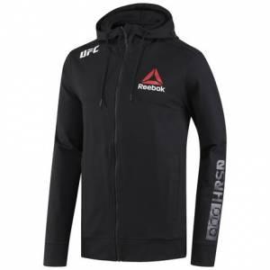 Reebok UFC Fight Night Blank Walkout Men's MMA Hoodie in Black / Chalk