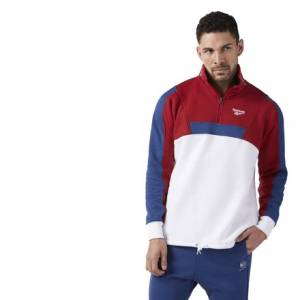 Reebok Quarter-Zip Fleece Men's Casual Sweatshirt in White