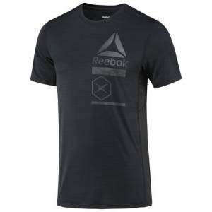 Reebok ACTIVCHILL Zoned Graphic Tee Men's Fitness Training T-Shirt in Black