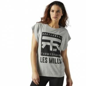 Reebok LES MILLS BODYCOMBAT™ Tee Women's Studio T-Shirt in Medium Grey Heather