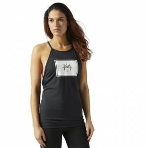 Reebok LES MILLS Women's Studio Tank Top With Built In Padded Sports Bra in Black
