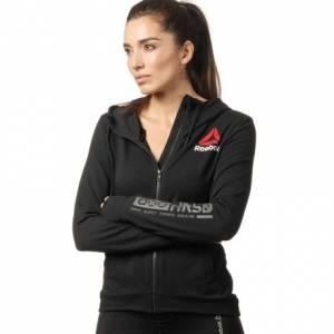 Reebok UFC Fight Night Women's MMA Blank Walkout Hoodie in Black