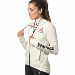 Reebok UFC Fight Night Women's MMA Blank Walkout Hoodie in Chalk