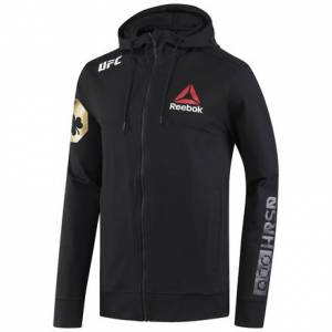 Reebok UFC Fight Night Conor Mcgregor Champ Walkout Men's MMA Hoodie in Black / Gold