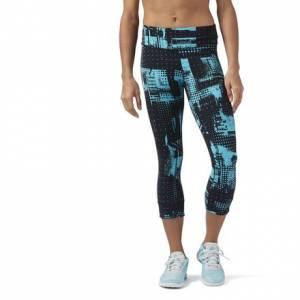 Reebok Lux Women's Training Capri Leggings Tights in Solid Teal / Black