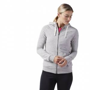 Reebok Elements Women's Training French Terry Full Zip Hoodie in Grey