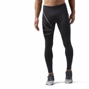 Reebok Running Men's Tights With Reflective Visibility in Black