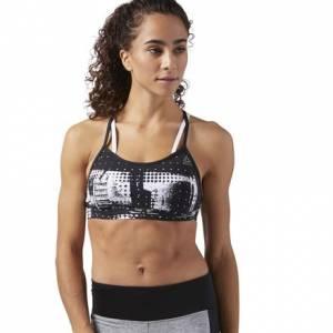 Reebok Hero Women's Training Strappy Sports Bra in White / Black