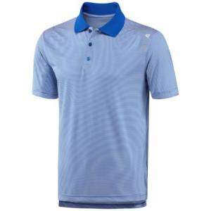 Reebok Feeder Stripe Polo Men's Training Shirt in Awesome Blue
