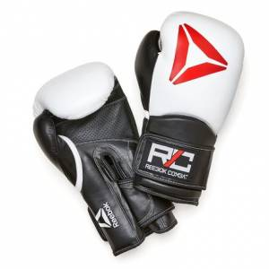 Reebok Unisex Training Combat Leather Gloves in White / Black