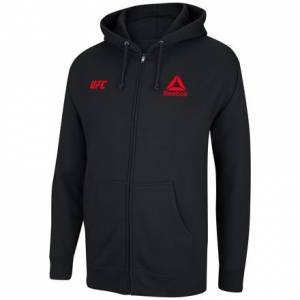 Reebok UFC Essential Logo Men's Training Full Zip Fleece Hoodie in Black