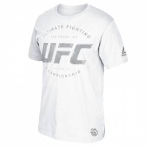 Reebok UFC 226 Weigh-In Athlete Silver - Blue Corner Men's MMA T-Shirt in White
