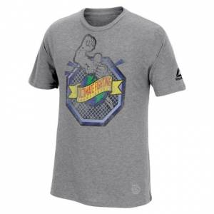 Reebok UFC 25th Anniversary Ulti-Man Octagon Influencer Men's Tee MMA in Dark Grey