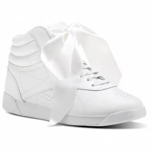 Reebok Freestyle Hi Satin Bow Women's Fitness Shoes in White / Skull Grey