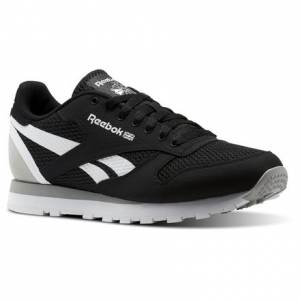 Reebok Classic Leather MVS Men's Retro Running Shoes in Black / Stark Grey / White