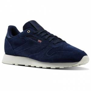 Reebok Classic Leather Montana Cans collaboration Unisex Retro Running Shoes in Navy / Chalk
