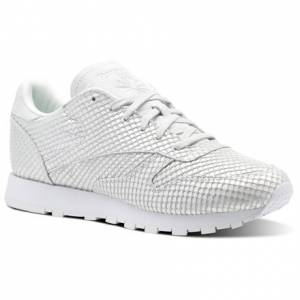 Reebok Classic Leather Dynamic Chrome Women's Retro Running Shoes in Cloud Grey / White