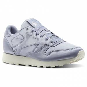 Reebok Classic Leather Satin Women's Retro Running Shoes in Purple Fog / Classic White
